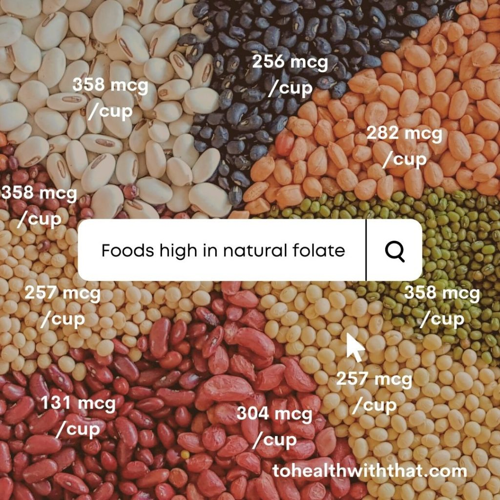 Beans are foods high in folate - good natural folate not artificial folic acid.