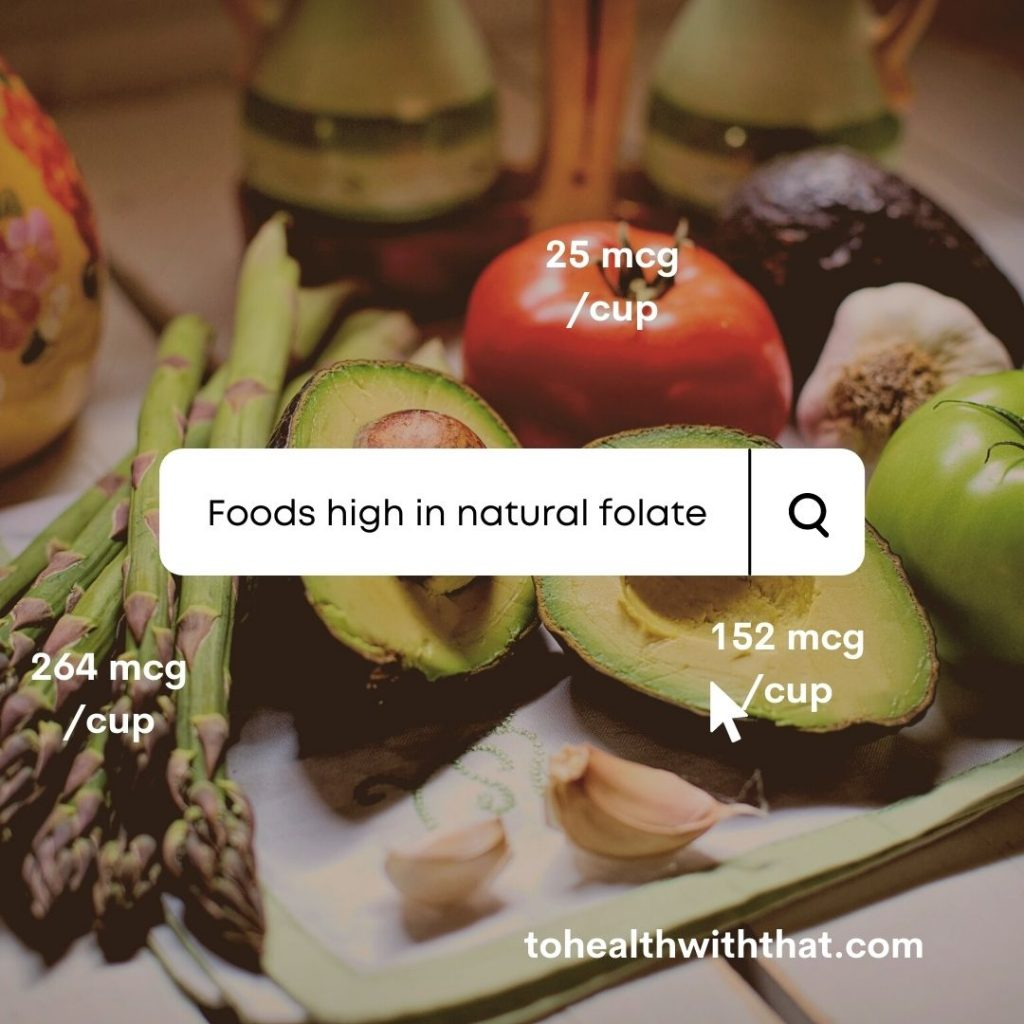 Asparagus and avocado are foods high in folate